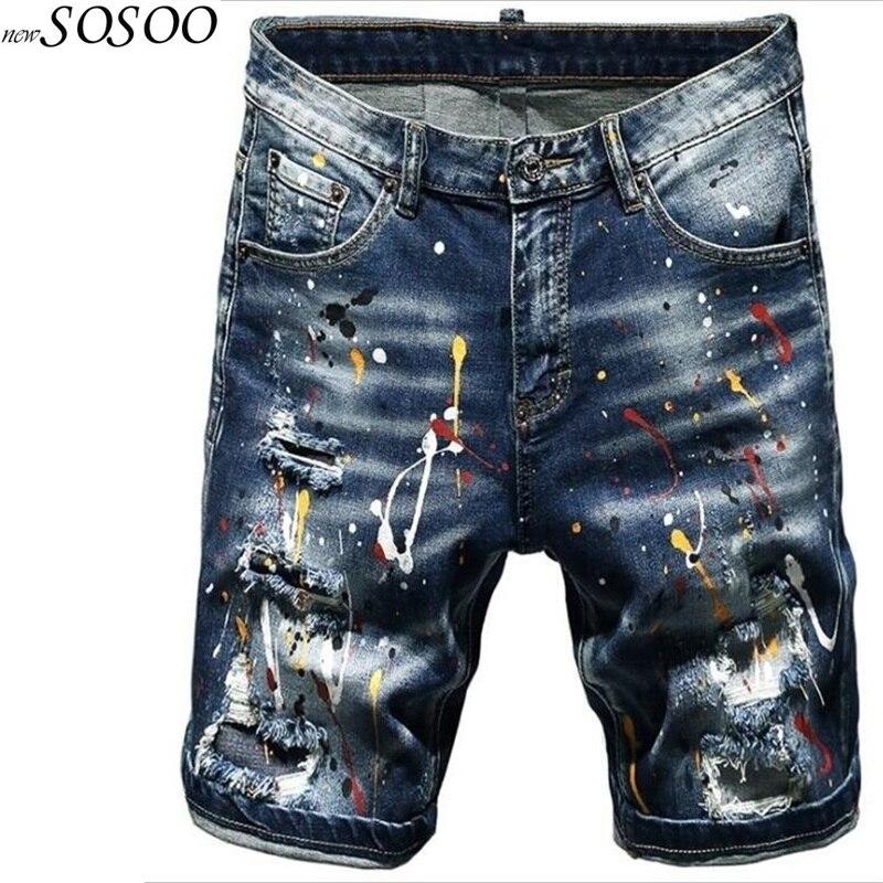 New Summer Men's Stretch Short   Jeans   Splash-ink Fashion Ripped   Jeans   for men Denim Shorts men   jeans   Men Pants #TC055