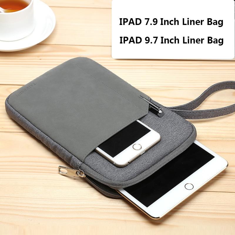 Côt amddiffynnol llawes amddiffynnol ar gyfer Ipad Mini Xiaomi 7.9 Bag leinin cotwm zipper mewn inc ar gyfer Apple IPAD 9.7 bag llaw
