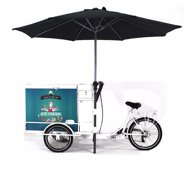 Convenient  pedal /electric mobile food cart bike ice cream food trailer with refrigerator hot selling