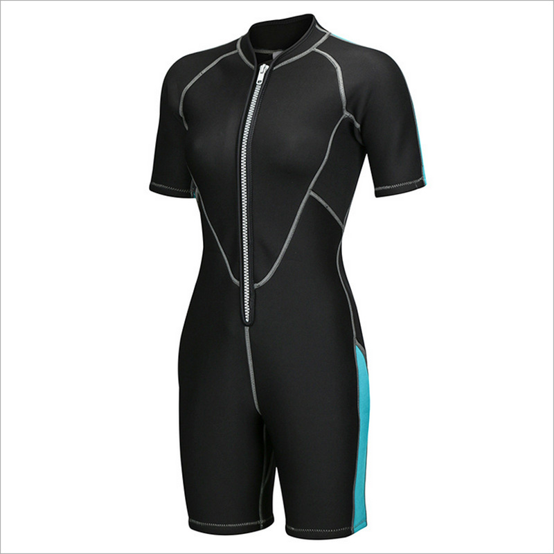 SBART 2mm Neoprene Men Women Short Wetsuits Lovers Short Sleeve One-piece Front Zip Thicken warm Snorkeling Jumpsuit Diving Suit