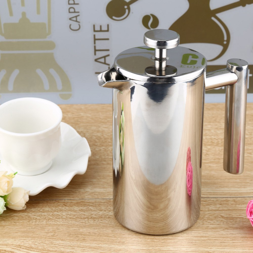 350ML Silver Stainless Steel Insulated Coffee Tea Maker French Press Percolators with Filter Double Wall for Living Room Office