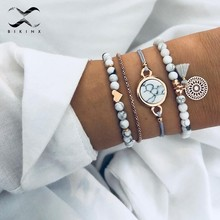 Bikinx Classic knot round crystal Multilayer adjustable open bracelet set women Fashion party jewelry multiple styles 2019 new(China)