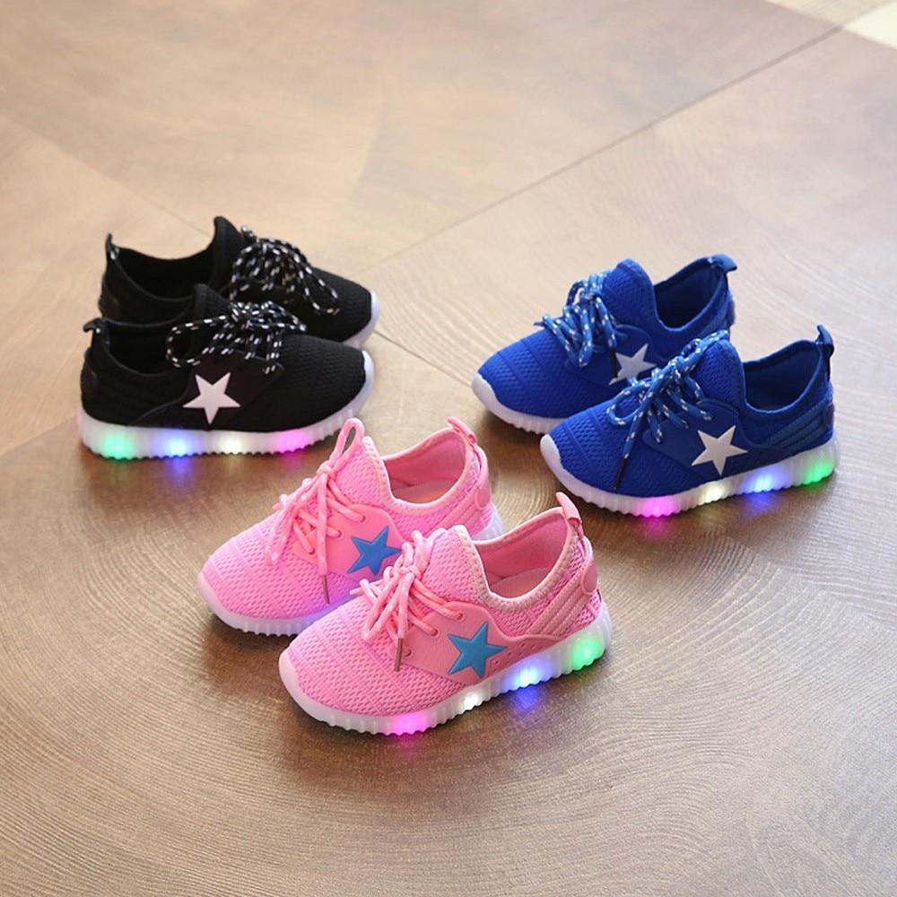 Shoes Children Sneakers Anti-Slip Girls Mesh Sport Summer Solid -3 Led-Light Run Luminous