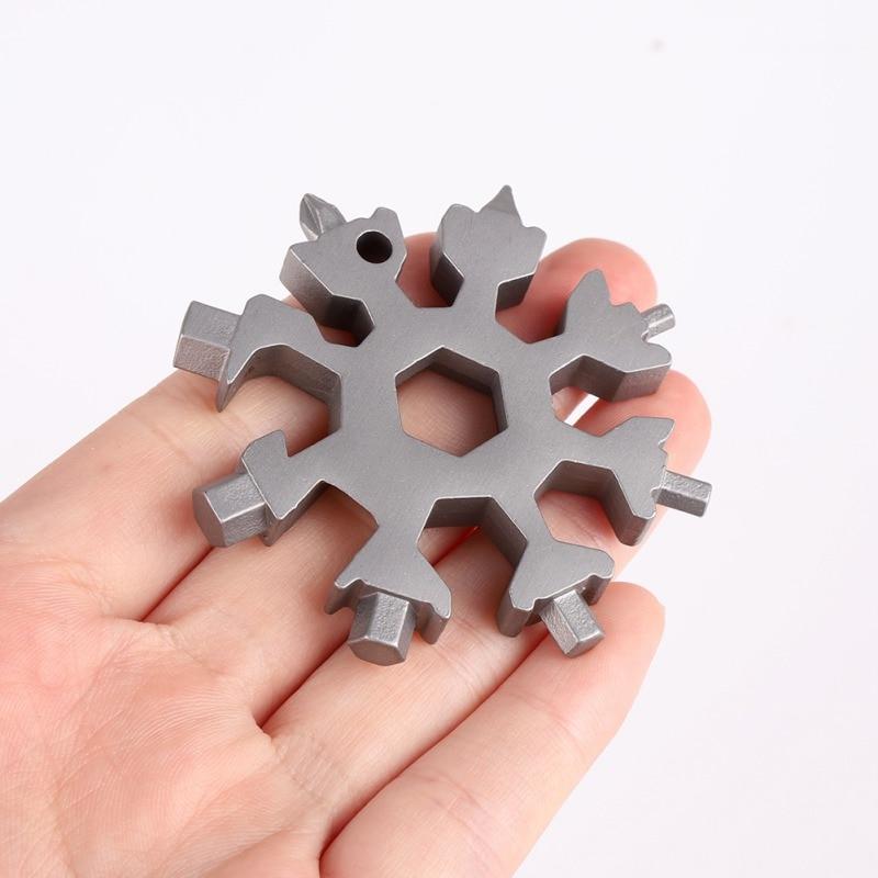 Mini 18 In 1 Multi-Tool Stainless Steel Snow Shape Flat Cross Head Screwdriver Allen Key Spanner Portable Key Chain Tool