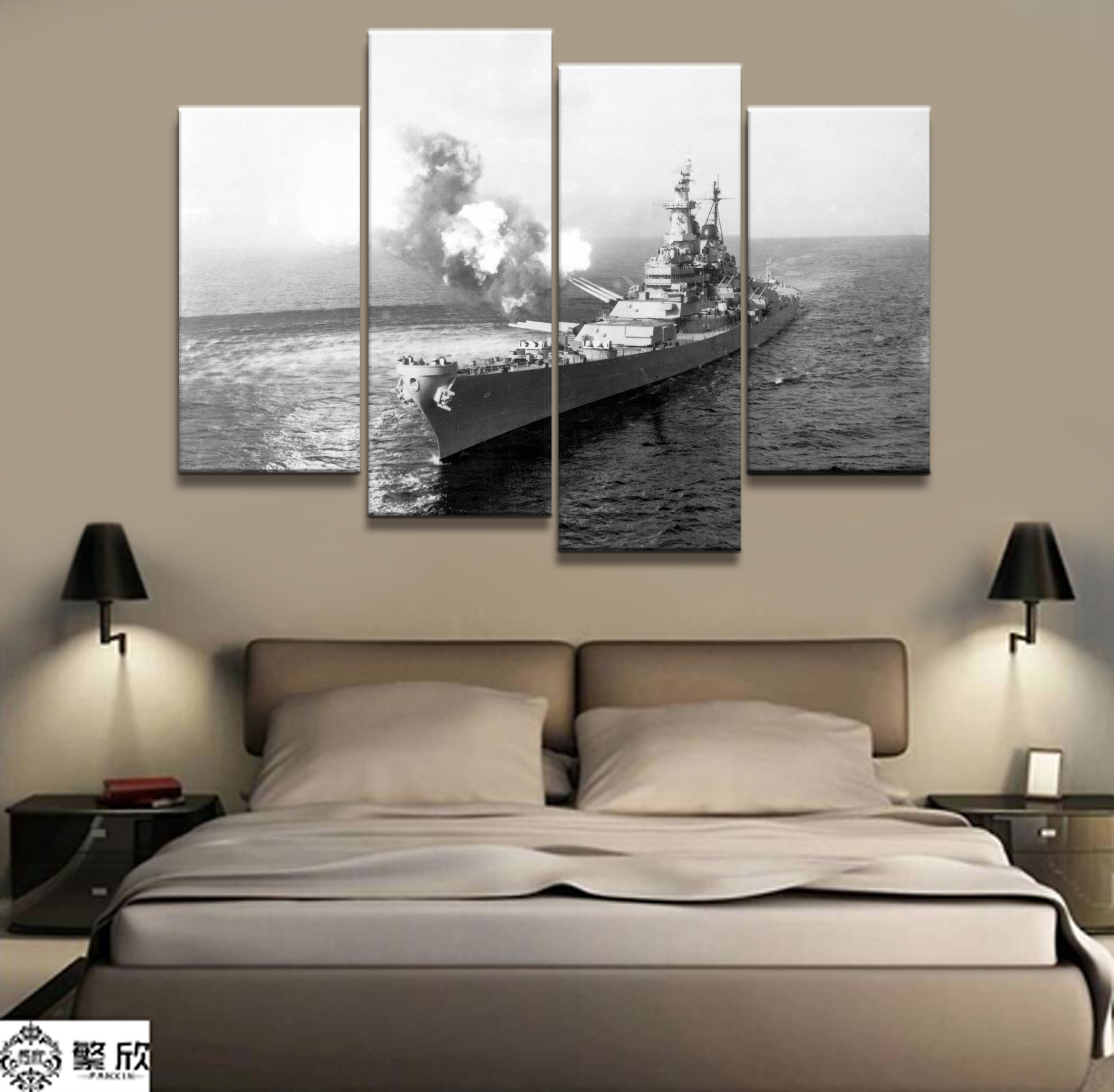4 Panel Military USS Missouri Navy War Weapon Poster Printed Painting For Living Room Wall Art Decor Picture Artworks