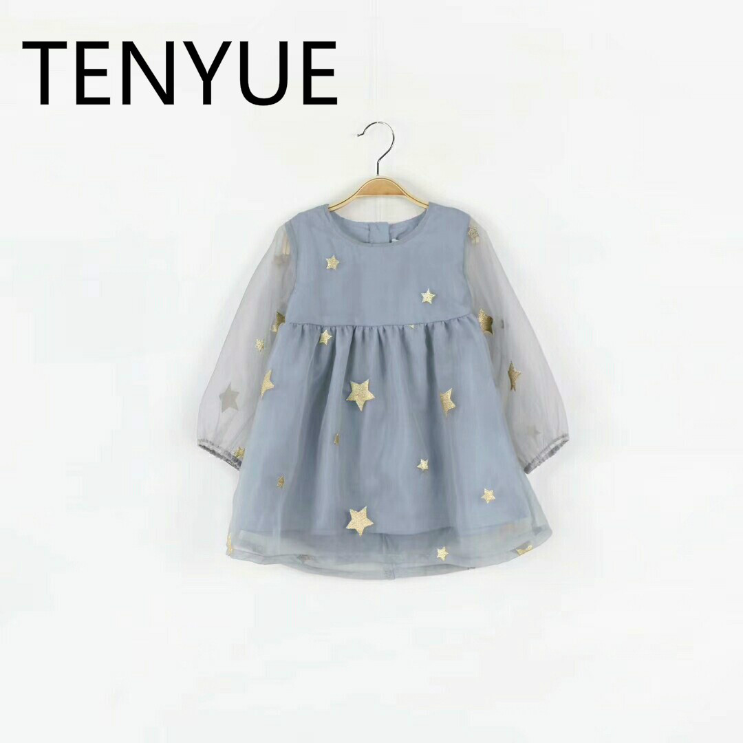TENYUE, Spring and Summer 2018 New Scandinavian Wind-star Gauze Dress Girl Dress Young Girl Princess Dress retail new girl flower dress child princess gauze dress summer summer costume 7 colors free shipping 5031