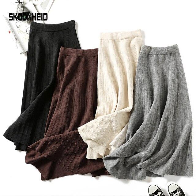 Falda larga de punto de invierno de punto suéter de rayas de línea a maxi faldas midi de punto de mujer casual swing falda otoño negro