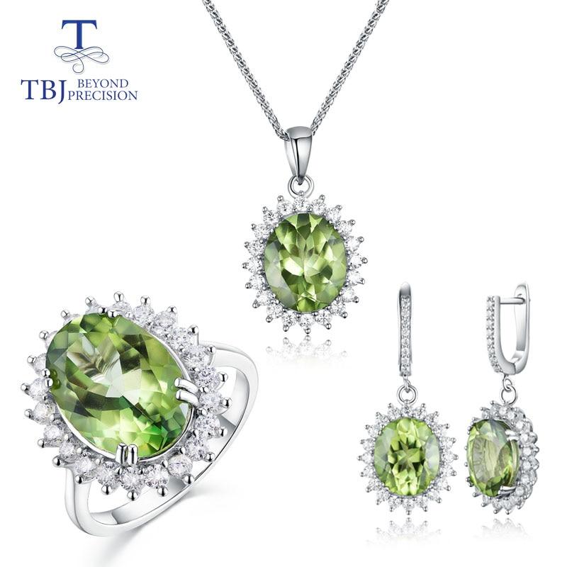 TBJ, péridot naturel bague topaze, boucles d'oreilles et pendentif ensemble de bijoux de mode 925 en argent sterling pour femme de mariage joli cadeau avec boîte