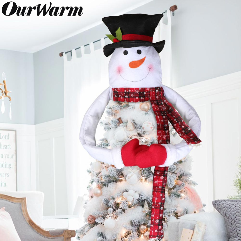 OurWarm Santa Christmas Tree Topper DIY Christmas Tree Ornaments  Xmas Tree Topper Decoration Outdoor Home Party Supplies