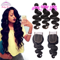 Brazilian Body Wave  3 Bundles With Lace Closure Unprocessed Brazilian Virgin Hair With Closure Human Hair Weaves