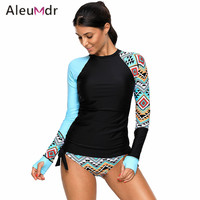 Aleumdr Swimming Suit For Women Retro Detail Print Long Sleeve Tankini Swimsuit Two Pieces LC410485 Maillot