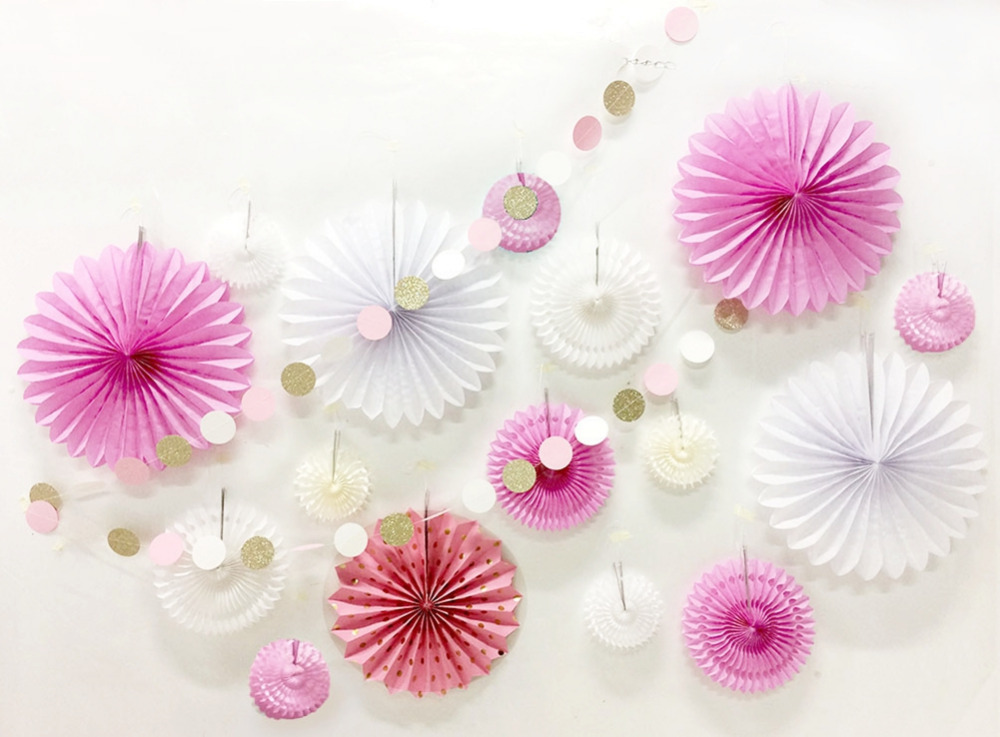 Pink White Paper Decoration Set Assorted Paper Pinwheels Star Garland Dots Fan Banner for Birthday Wedding Showers Stage Setting in Party DIY Decorations from Home Garden