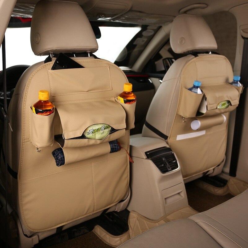 Urijk Leather CarStorage Bags Chair Back Bag Organizer Car Seat-back Organizer Cover Multi-Pocket Hanging Storage Bag