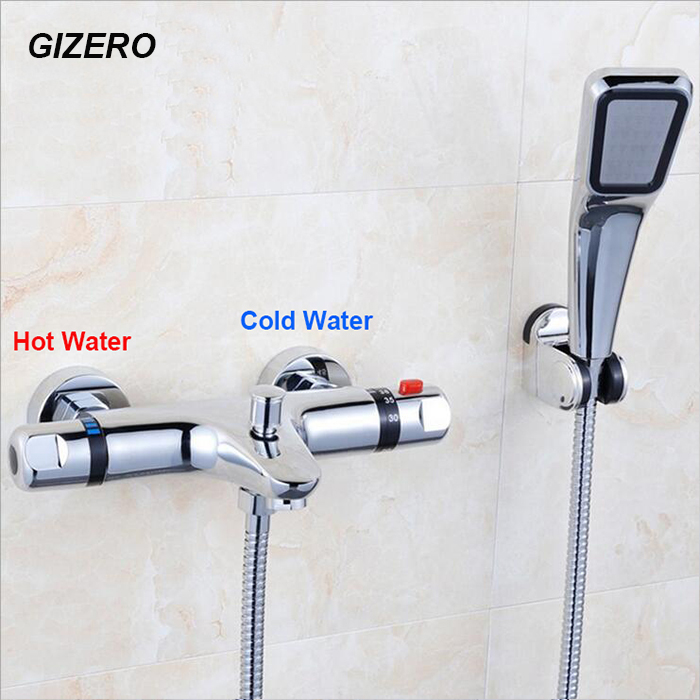 Chromed Bathroon Sink Faucet With Temperature Control: High Quality Thermostatic Shower Set Bathroom Chrome