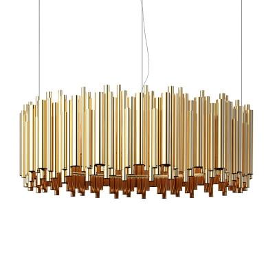 Italy design gold pendant lamp aluminum tube contemporary suspension luminaire gold oval shape project lamp D35CM/D50CM abitu d italy p