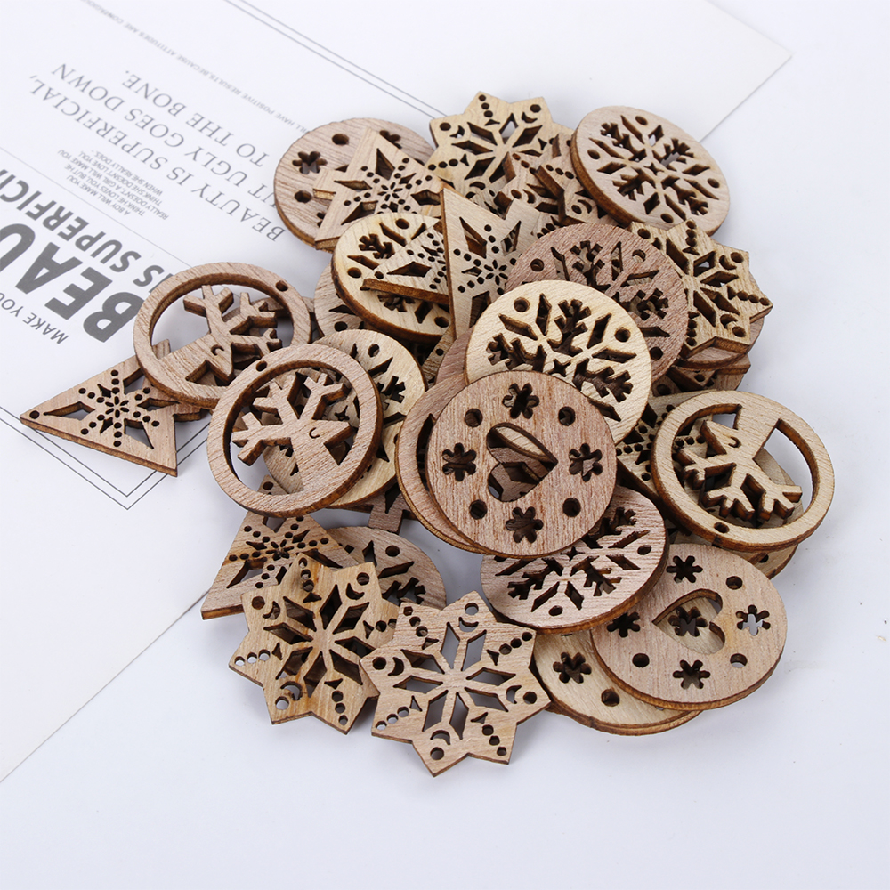 50Pcs/Set Hollow Snowflake Nature Wooden Mixed Scrapbooking Art Collection Craft for Handmade Accessory Sewing Home Decoration