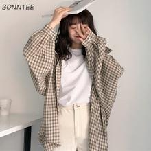Camisas de manga larga a cuadros para mujer, camisa sencilla holgada de estilo coreano para estudiantes de ocio, combina con todo, para uso diario