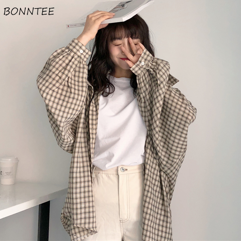 Shirts Women Plaid Single Breasted Loose Leisure Students Simple All-match Full Sleeve Womens Shirt Korean Style Trendy Daily