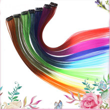 HiDoLASynthetic Clip In Hair Extensions One Piece Rainbow Clip On Hair Pieces For Women Purple Pink Wig  Hair Extension Headwear цена и фото
