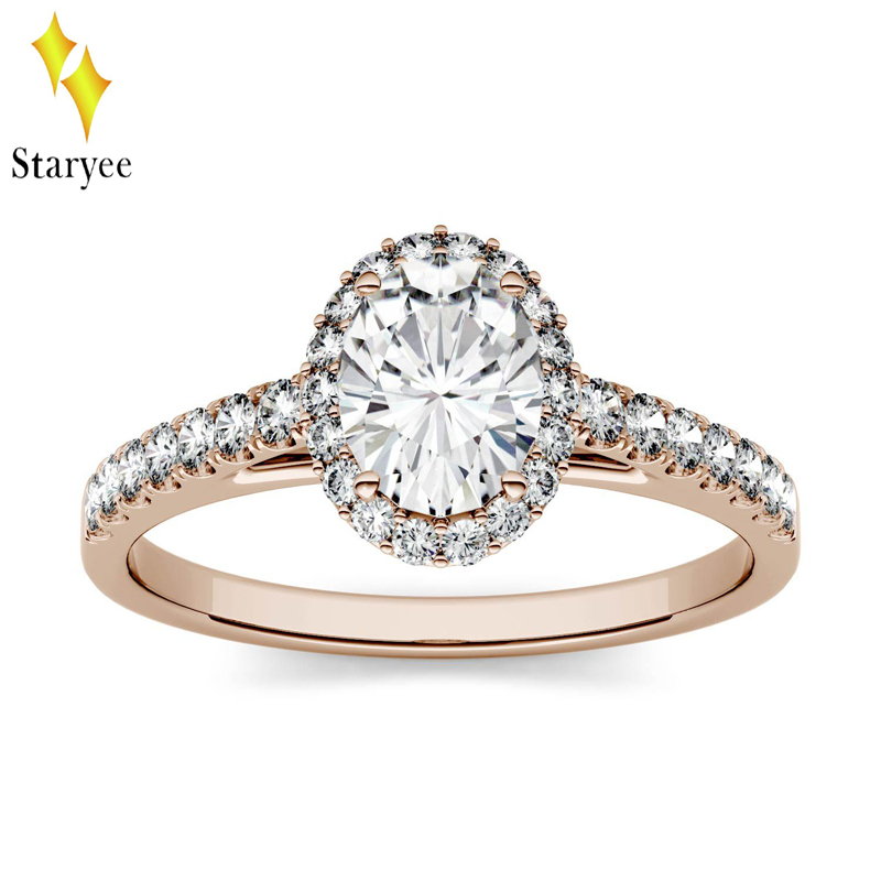 Certified 18K Solid Rose Gold Oval DEF Brilliant 0.9ctw Moissanite Halo Engagement Rings Lab Diamond Band For Women Fine Jewelry