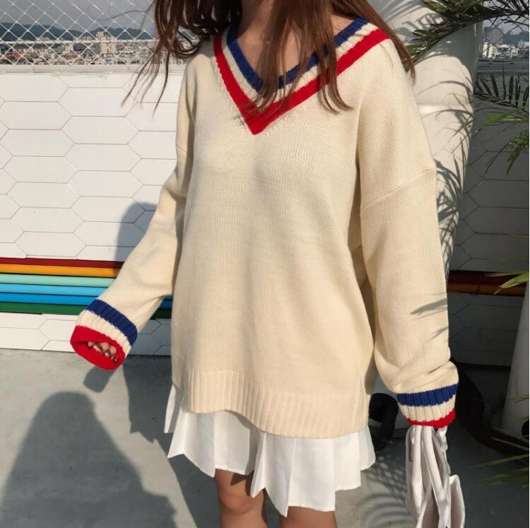 Autumn and winter new Korean of the wild V-neck sweater