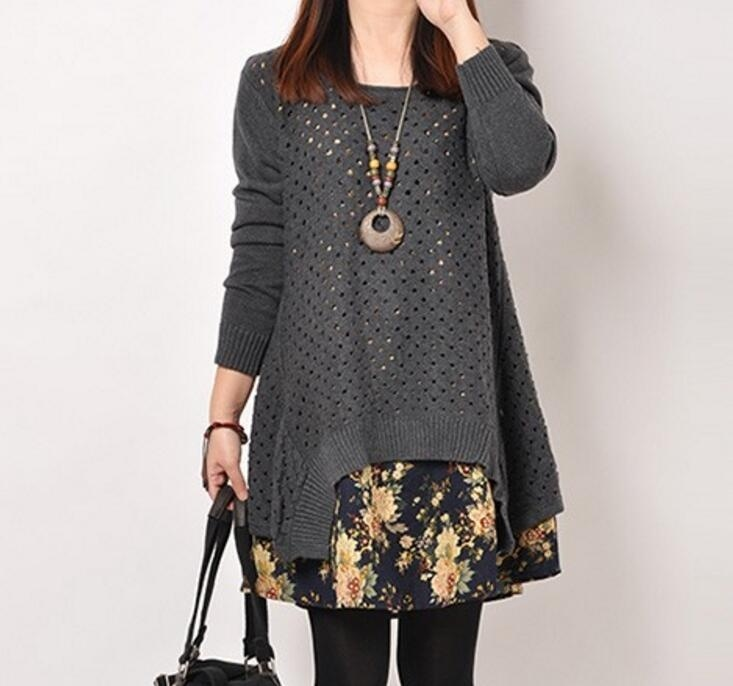 Autumn Winter Women shirt Plus Size Knitted Two-piece suit blouse Casual Print Patchwork Pullover Sweater Tops 32