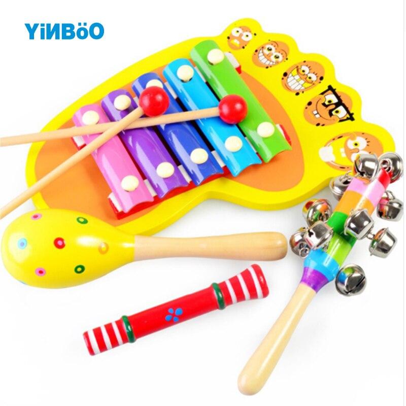 Погремушку кольцо деревянный музыкальный набор колокольчик детские Игрушечные лошадки Музыкальные инструменты 0-12 месяцев красочные музы...