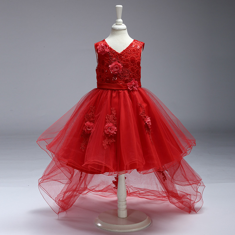 V-neck Girls Tailing Dress Stereo Flowers tulle Wedding Princess Birthday Party Dresses Frocks Pageant Vestidos For 4 6 8 10 Yrs pageant 3d rose flower girls red dress kids frocks princess party birthday wedding dresses vestidos clothes for 2 4 6 8 10 years