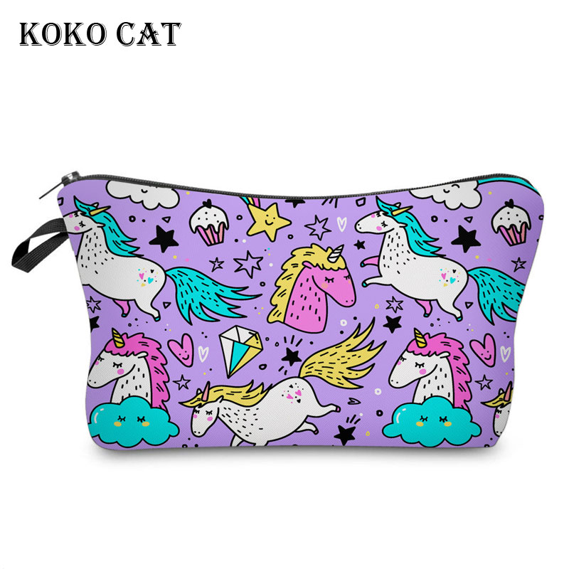 Classic Multicolour Unicorn Printing Makeup Bags Women Cosmetics Pouchs for Travel Ladies Pouch Toiletry Bag Bolsos Mujer