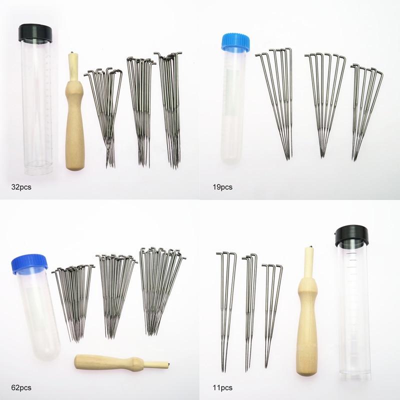 Thick Medium Fine Needle Practical 1 Set Felting Needles Pin Tool Wooden Handle Sewing Kit Wool Pins Knitting Black Blue Bottle(China)
