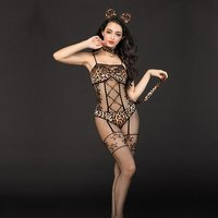 Sexy Women's Corset Leopard Cat Jumpsuit Hot Catwoman Costume Fantasy Halloween Catsuit Cosplay Adult Sexy Costumes 6923