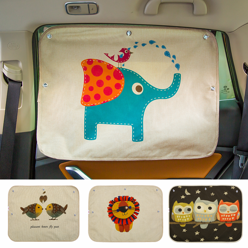 Car Windshield Car Sun Shade Curtains Cute Cartoon Car Styling Rear Side Window Sunshade Protect Window Curtains 70cm*50cm