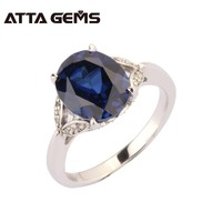 ATTAGEMS 2017 New Arrival Unisex Ring 925 Sterling Silver Jewelry Created Blue Sapphire Oval Romantic Stylish