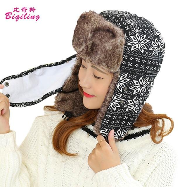 9ad42181ee342 New Bomber Hats Ushanka Russian Hat Polyester Men Women Winter Hat Aviator  Ear Flaps Cap Warm Resistant Mask