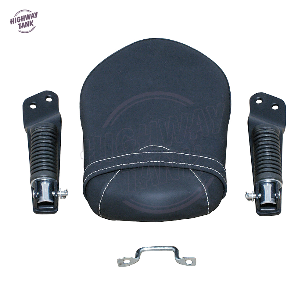 Motorcycle Synthetic Leather Passenger Rear Seat Moto Foot Rest Footpeg Kit case for Yamaha XVS 950 2014 2015 2016