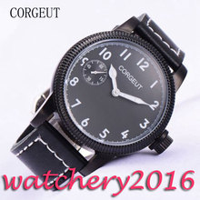 Sport 45mm Corgeut black dial PVD case white marks Mechanical Wristwatch6497 hand winding movement men's Mechanical Wristwatches