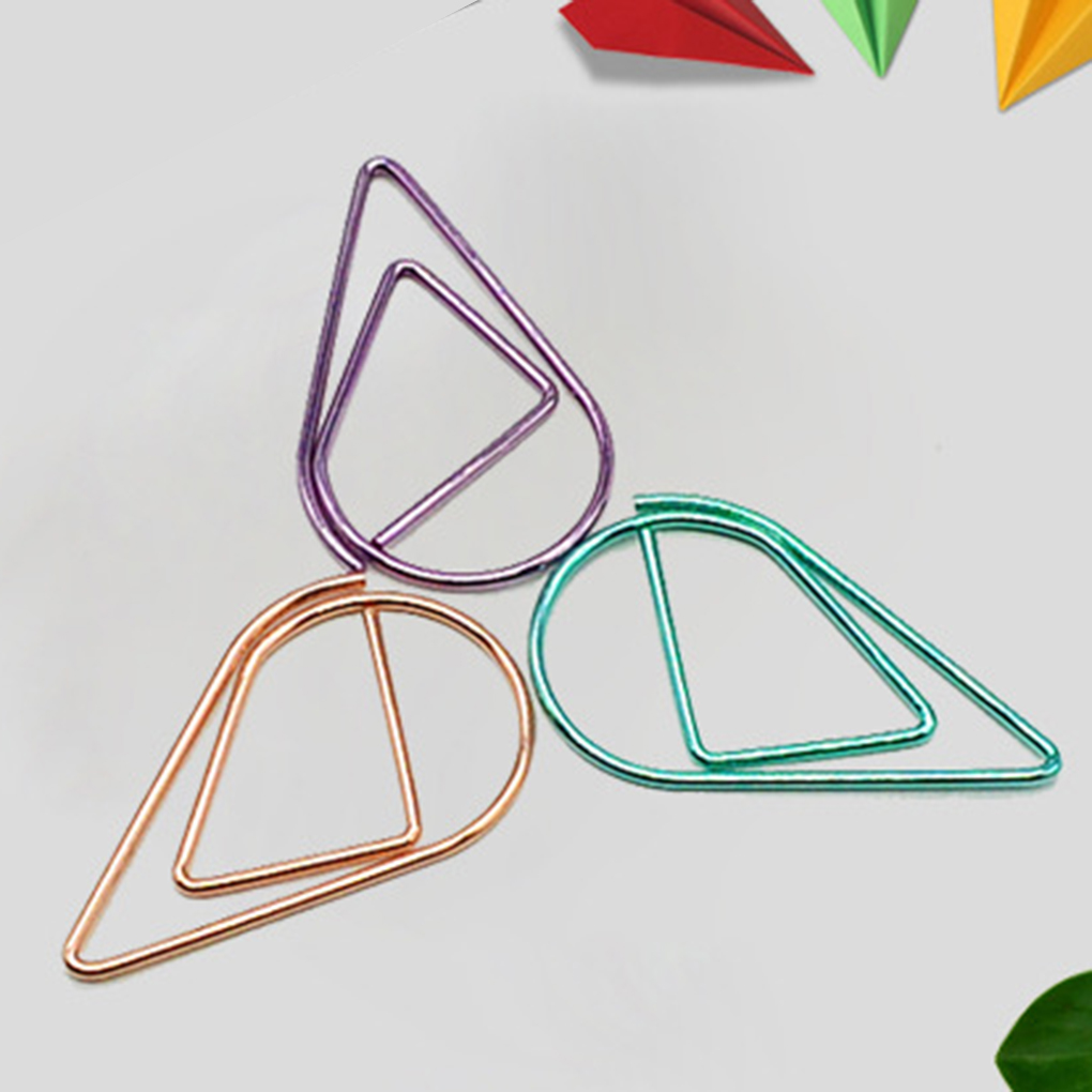 10PCS Random Color Water Drop Paper Clip Metal Bookmarks Book Memo Label Gift Student Stationery