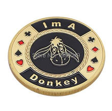 IM A DONK! 2 7 gold color Poker Card Guard Protector Cover coin,1pcs/lot free shipping