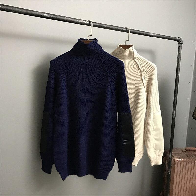 Nouveaux Chandail Roulé Semi Bar Hiver Pull 2018 Chaude Bleu Solide Vente kaki Col Couture Lâche BHqRwqZE