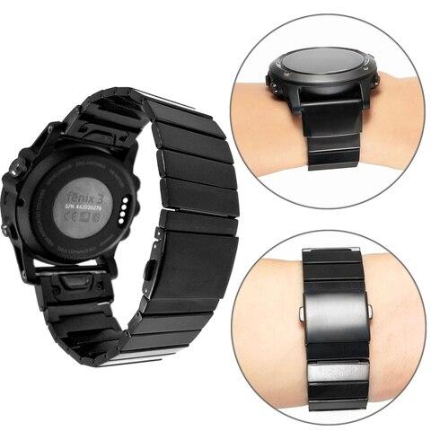 Pulseira de Relógio para Garmin Yooside Ajuste Rápido Fenix 5x Metal Aço Inoxidável – Plus 3 Quatix Tactix Bravo 26mm