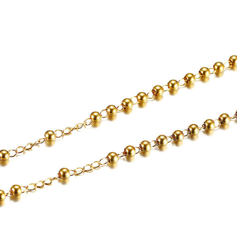 Vnox Adjustable Length Rosary Necklace Beaded Chain Cross Charm Gold Color Stainless Steel Casual Female Jewelry