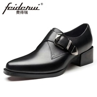 New Arrival Genuine Leather Men's High Heels Monk Strap Footwear Pointed Toe Buckle Strap Formal Dress Office Man Shoes HQS355