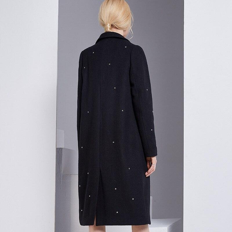 Couleur Décoration X En Européen 2017 Noir Métal Style Nouveau Et longue Laine Américain Manteaux Hiver Étoile Femmes Bootyjeans De Mélanges OBPfqHO