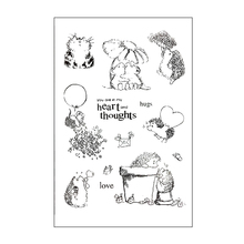 Hedgehog Heart Thoughts Rubber Clear Stamps Silicone Seals for DIY Scrapbooking/Card Making/Diary Book/Paper Maker Decor Stencil