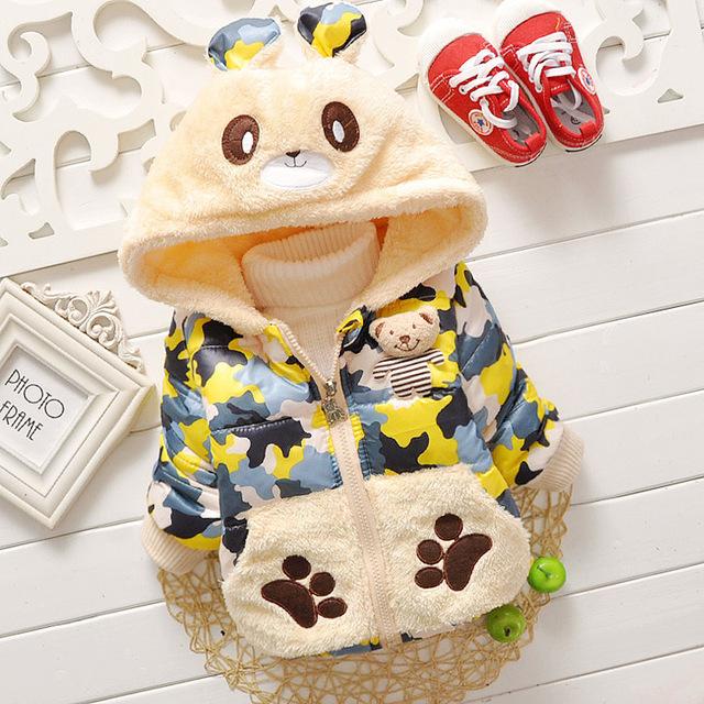 2016 Inverno Quente Traje Do Bebê Roupas de Menina Moda Outono garoto Casacos de Urso bonito Dos Desenhos Animados Urso Palma Ouvidos Chapéu Peludo Com Capuz jaquetas