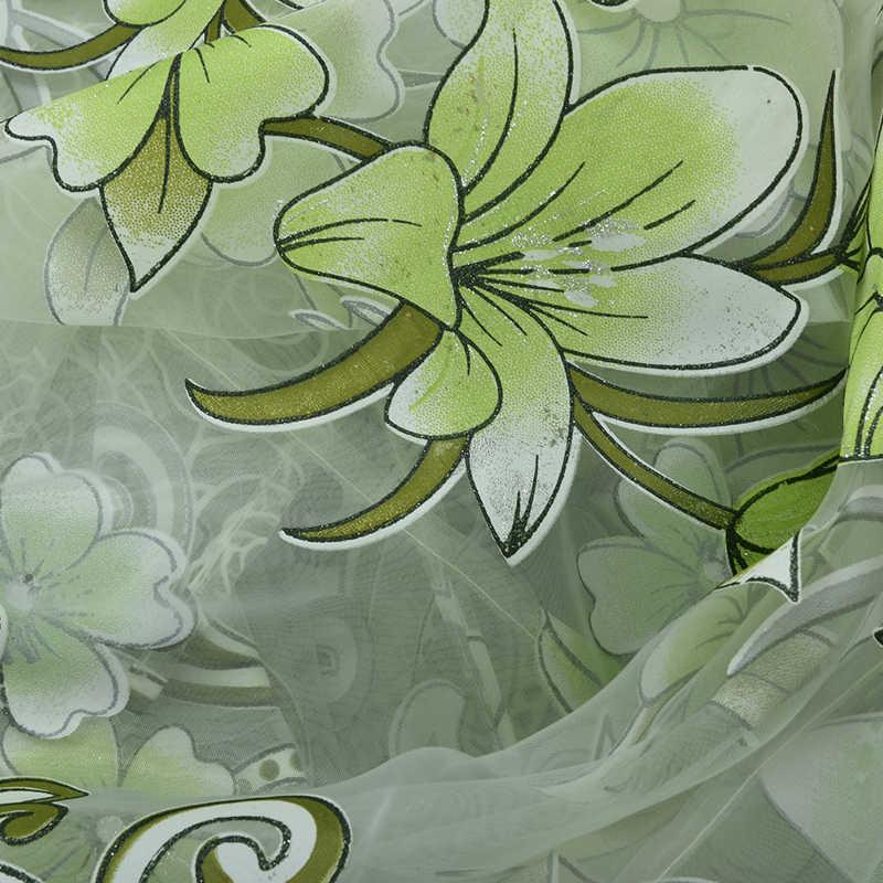 1PC Big Sale Curtains Sunflower Printed Voile Door Window Balcony Sheer Screening Green Pink Blinds