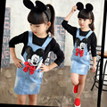 Girl's Autumn New Denim Skirt All-match Cowboy Suspenders Skirt Girls Denim Skirt