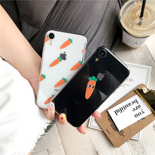 Милый прозрачный чехол для телефона с морковкой чехол для iPhone 7 6 6s 6plus 7 Plus X iPhone 8, XS, iPhone XR, прекрасный корейский чехол XS MAX