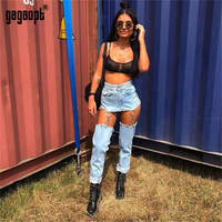 Gagaopt Fashion Women Jeans Hollow Out Denim Pants High Waist Trousers Iron Ring Connection Casual Pants Feminino