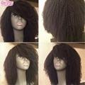 130 Densidade Brasileiro Virgem Cabelo Afro Kinky Curly Perucas Com Franja Cabelo humano Kinky Curly Cheia Do Laço/Frente Peruca Para As Mulheres Negras
